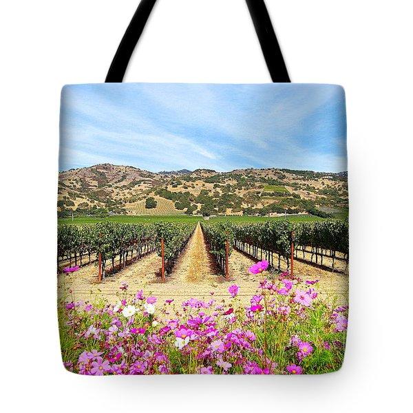 Napa Valley Vineyard With Cosmos Tote Bag