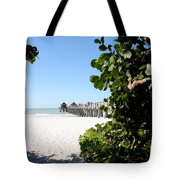 Naples Pier View Tote Bag by Christiane Schulze Art And Photography