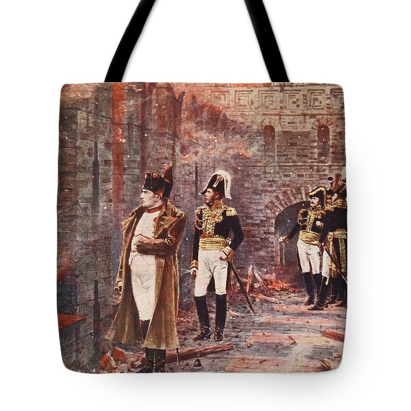Napoleon Watching The Fire Of Moscow Tote Bag by Nikolai Stepanovich Vereshchagin