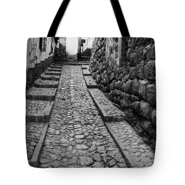 Narrow Street In Cusco Tote Bag by Alexey Stiop