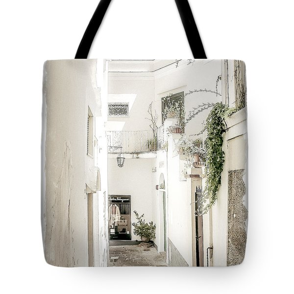 Narrow Walkway Of Capri Tote Bag