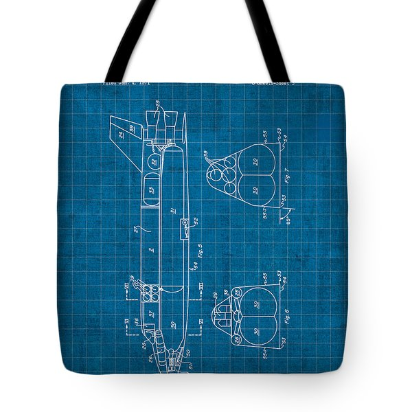 Nasa Space Shuttle Vintage Patent Diagram Blueprint Tote Bag by Design Turnpike