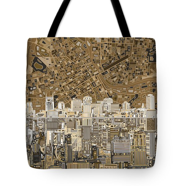 Nashville Skyline Abstract 2 Tote Bag by Bekim Art