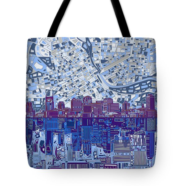 Nashville Skyline Abstract 8 Tote Bag by Bekim Art