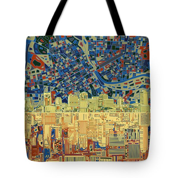 Nashville Skyline Abstract 9 Tote Bag