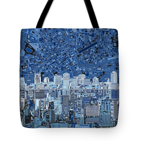 Nashville Skyline Abstract Tote Bag by Bekim Art