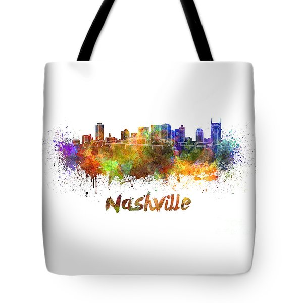 Nashville Skyline In Watercolor Tote Bag by Pablo Romero