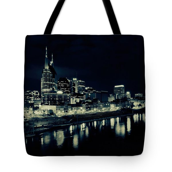 Nashville Skyline Reflected At Night Tote Bag by Dan Sproul
