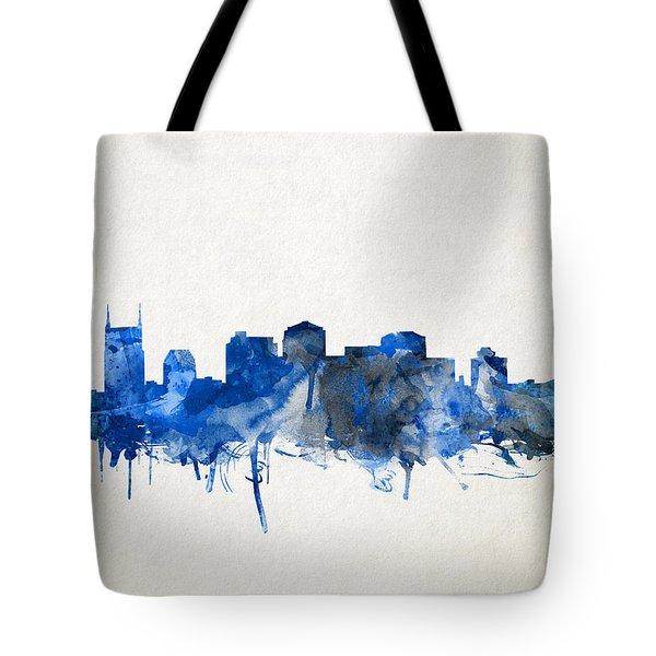 Nashville Skyline Watercolor 11 Tote Bag