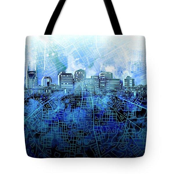Nashville Skyline Watercolor 3 Tote Bag