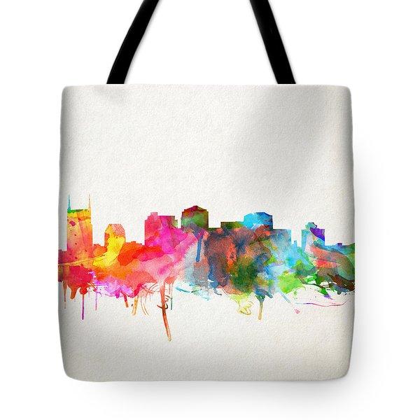 Nashville Skyline Watercolor 9 Tote Bag