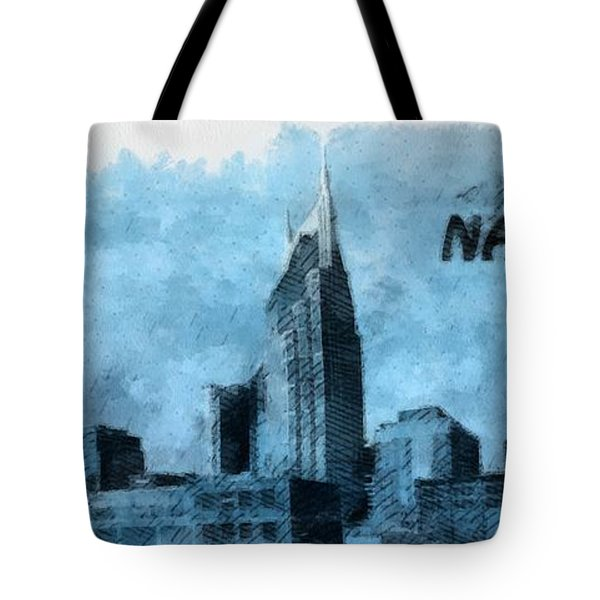 Nashville Tennessee In Blue Tote Bag by Dan Sproul