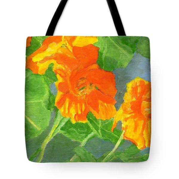 Nasturtiums Flowers Garden Small Oil Painting Tote Bag