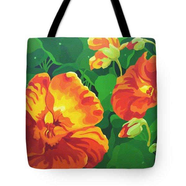 Tote Bag featuring the painting Nasturtiums by Karen Ilari