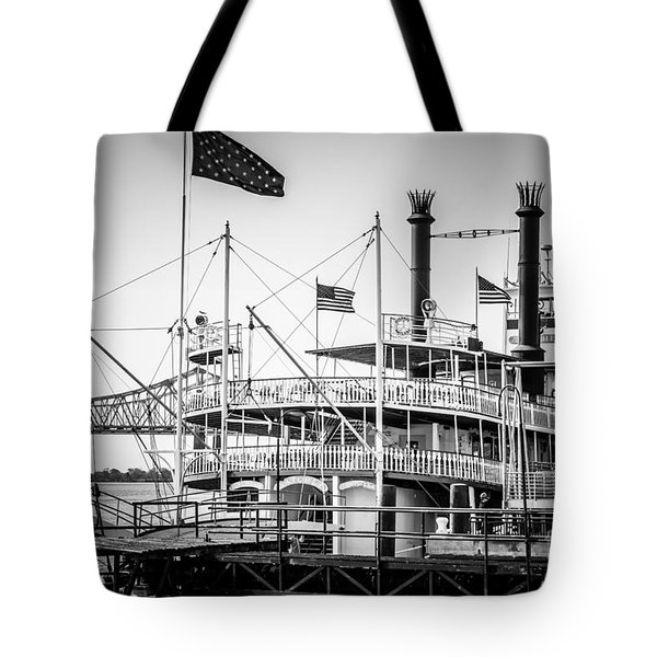 Natchez Steamboat In New Orleans Black And White Picture Tote Bag by Paul Velgos