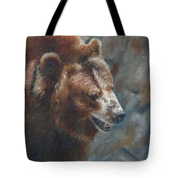 Nate - The Bear Tote Bag by Lori Brackett