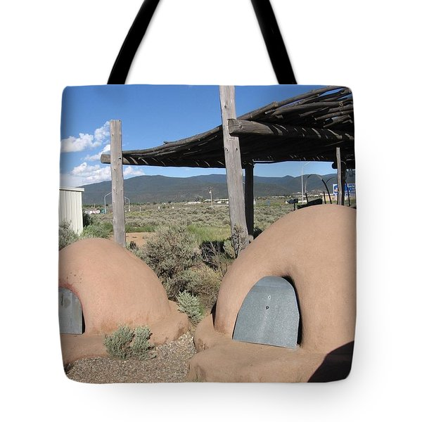 Tote Bag featuring the photograph Native American Adobe Ovens In New Mexico by Dora Sofia Caputo Photographic Art and Design