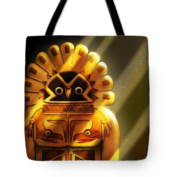 Native American Hawk Spirit Gold Idol Tote Bag