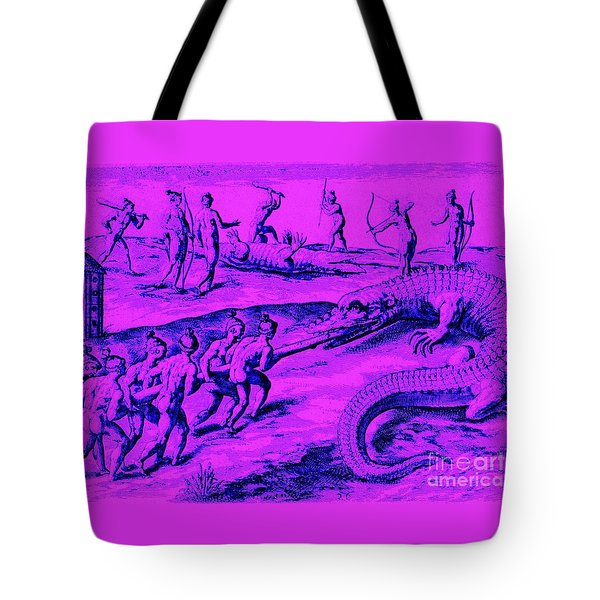 Tote Bag featuring the drawing Native American Indian Alligator Hunt by Peter Gumaer Ogden