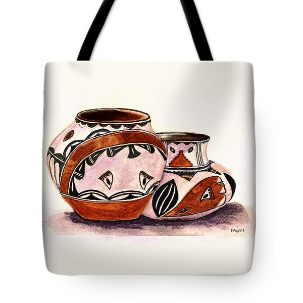 Tote Bag featuring the painting Native American Pottery by Paula Ayers