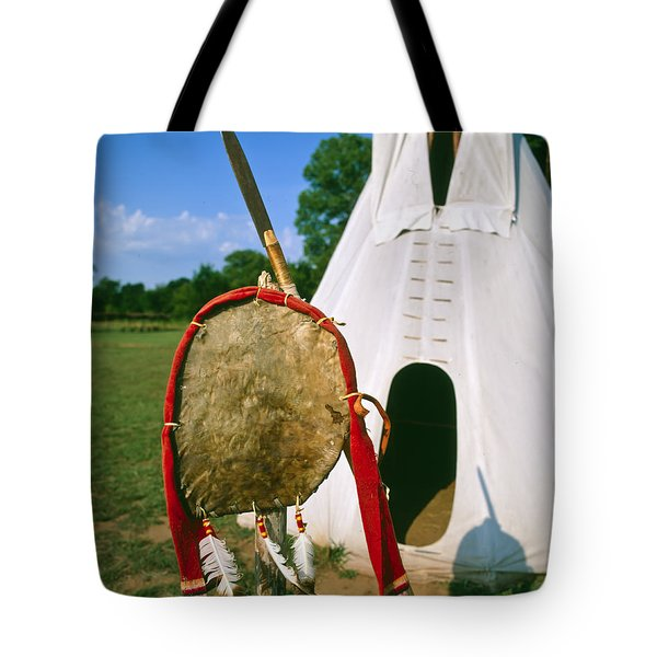 Native American Shield And Spear Tote Bag