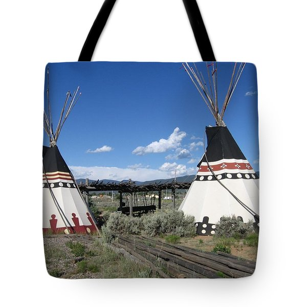 Tote Bag featuring the photograph Native American Teepees by Dora Sofia Caputo Photographic Art and Design