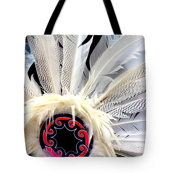 Native American White Feathers Headdress Tote Bag by Dora Sofia Caputo Photographic Art and Design