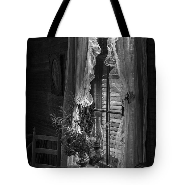 Native Flowers In Vase And Ruffled Curtains Tote Bag
