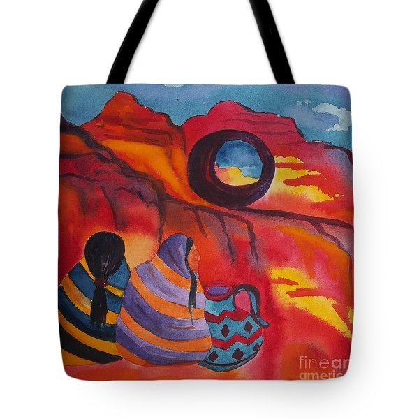 Native Women At Window Rock Square Tote Bag