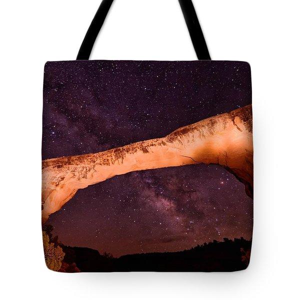 Natural Bridges Utah Cedar Mesa Colorado Plateau Owachomo Bridge And The Milky Way Tote Bag