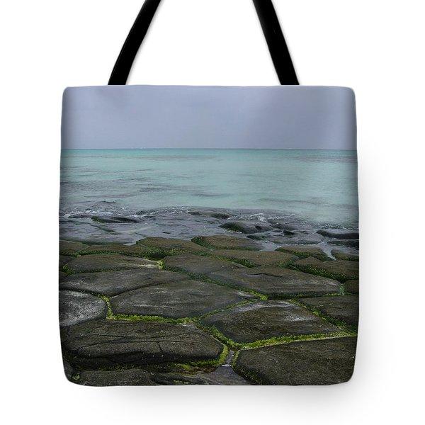 Natural Forming Pentagon Rock Formations Of Kumejima Okinawa Japan Tote Bag by Jeff at JSJ Photography