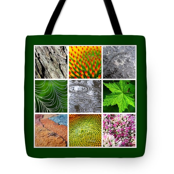 Nature Patterns And Textures Square Collage Tote Bag by Christina Rollo