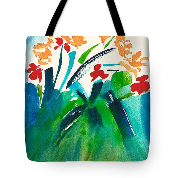 Tote Bag featuring the painting Natures Bouquet Abstract by Frank Bright