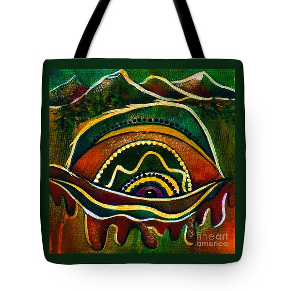 Tote Bag featuring the painting Nature's Child Spirit Eye by Deborha Kerr