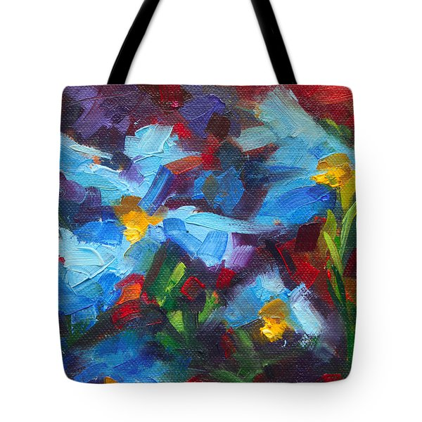 Nature's Palette - Himalayan Blue Poppy Oil Painting Meconopsis Betonicifoliae Tote Bag by Talya Johnson