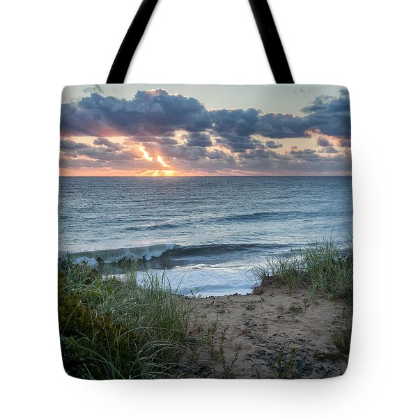 Nauset Light Beach Sunrise Square Tote Bag