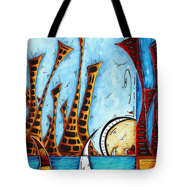 Nautical Coastal Art Original Contemporary Cityscape Painting City By The Bay By Madart Tote Bag by Megan Duncanson