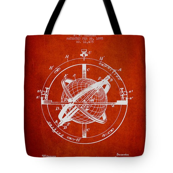 Nautical Observation Apparatus Patent From 1895 - Red Tote Bag