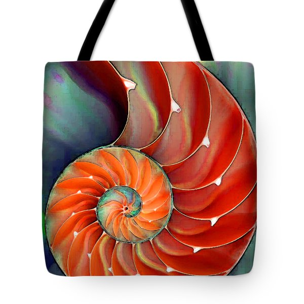 Tote Bag featuring the painting Nautilus Shell - Nature's Perfection by Sharon Cummings