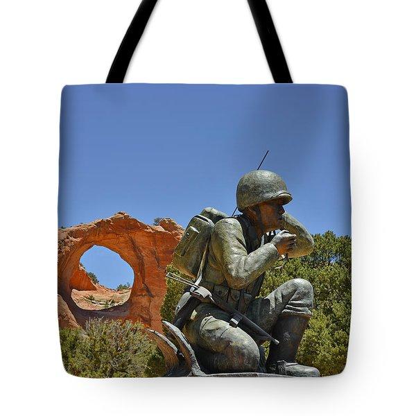 Navajo Code Talker - Window Rock Az Tote Bag by Christine Till