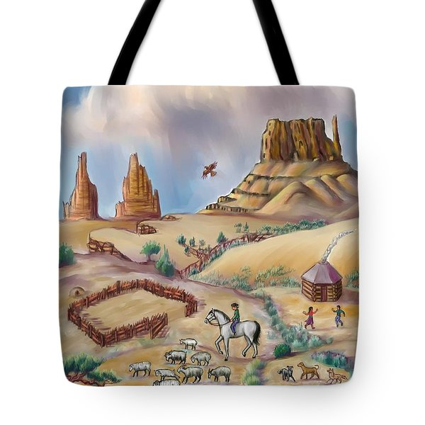 Navajo Sheepherder - Age 11 Tote Bag by Dawn Senior-Trask