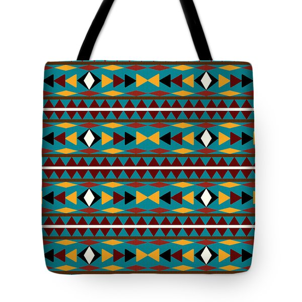 Navajo Teal Pattern Tote Bag