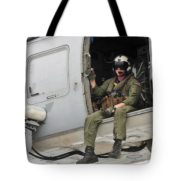 Naval Aircrewman Acts In An Sh-60b Sea Tote Bag by Stocktrek Images