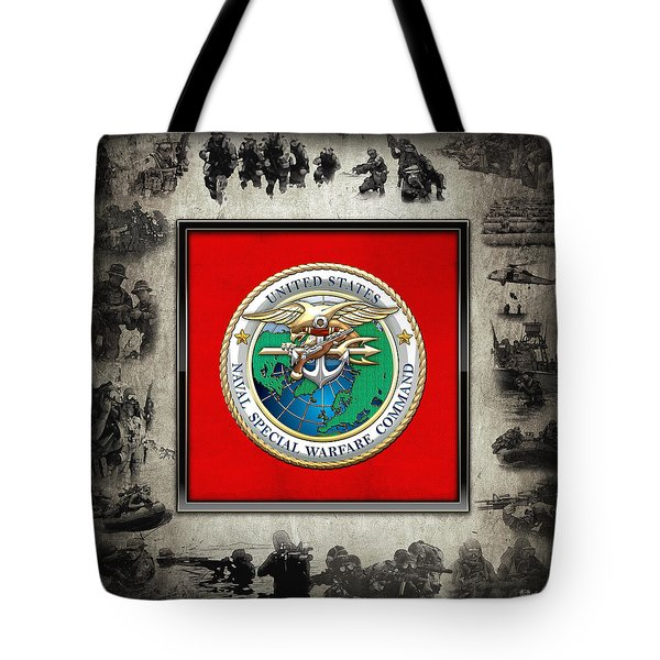 Naval Special Warfare Command - N S W C - Emblem  Over Navy Seals Collage Tote Bag