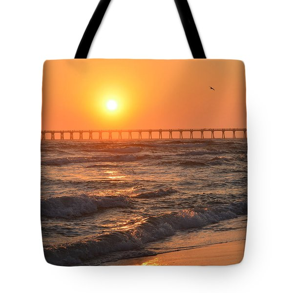 Navarre Beach And Pier Sunset Colors With Birds And Waves Tote Bag by Jeff at JSJ Photography