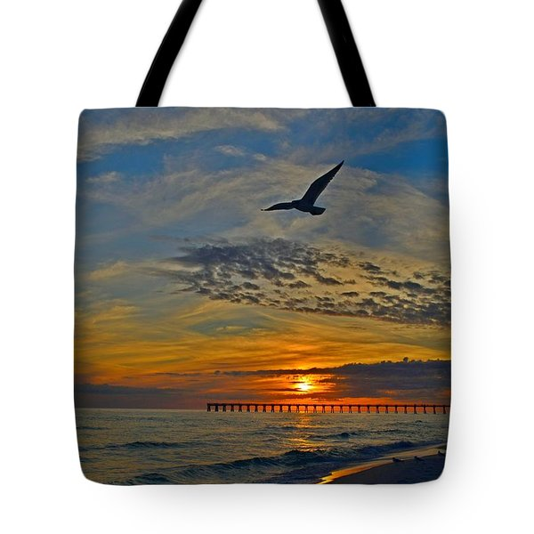 Tote Bag featuring the photograph Navarre Beach And Pier Sunset Colors With Gulls And Waves by Jeff at JSJ Photography