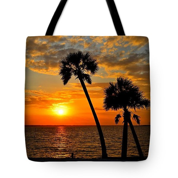 Navarre Beach Bridge Sunrise Palms Tote Bag by Jeff at JSJ Photography
