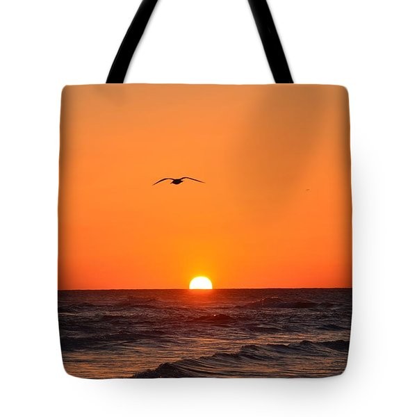 Navarre Beach Sunrise Waves And Bird Tote Bag by Jeff at JSJ Photography