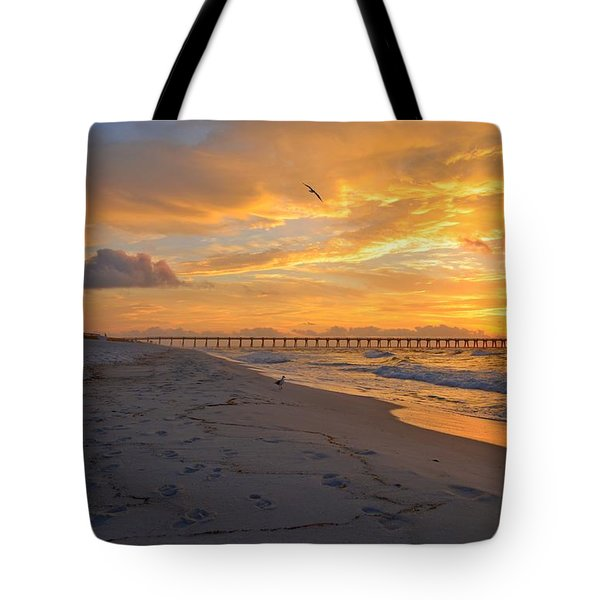 Navarre Pier And Navarre Beach Skyline At Sunrise With Gulls Tote Bag by Jeff at JSJ Photography