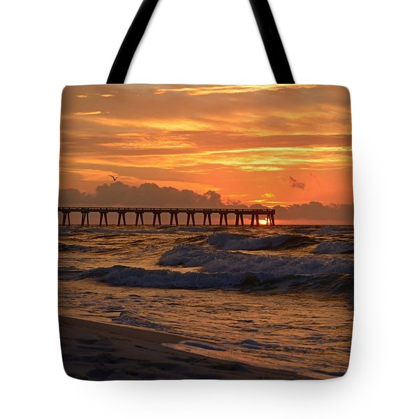 Navarre Pier At Sunrise With Waves Tote Bag by Jeff at JSJ Photography